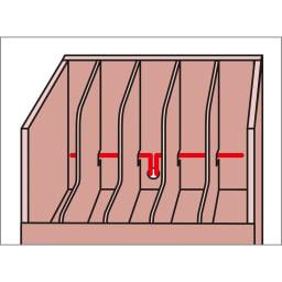 デスク下整理チェストワゴン ファイルチェストタイプ 仕切り板の奥からコード穴を通し、背面へ配線が可能。穴の直径は2.5cm。(お手持ちの電源コードのサイズを予めご確認ください)