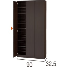 効率収納できる段違い棚シェルフ [本体 板扉タイプ 開き戸 幅90cm] 奥行32.5cm 高さ180cm (イ)ダークブラウン
