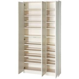 効率収納できる段違い棚シェルフ [本体 板扉タイプ 開き戸 幅90cm] 奥行32.5cm 高さ180cm 可動棚が豊富で効率的に収納できます。