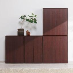 組立不要1cmピッチ頑丈棚板本棚 扉タイプ コーディネート例(ウ)ダークブラウン ※左から幅60cmタイプ(横並びで使用)、幅80cmタイプです。