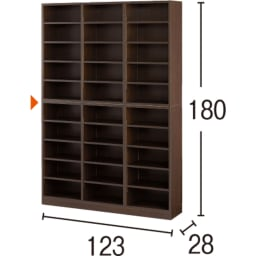1cmピッチ薄型壁面書棚 奥行28cm 幅123cm 高さ180cm オープン (ア)ダークブラウン (単位:cm) ※写真内の赤矢印は固定棚です。