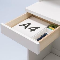 モダンブックライブラリー デスクタイプ 幅80cm 小引き出しは小物の整理収納に便利。