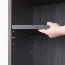 モダンブックライブラリー チェストタイプ 幅60cm 棚板は3cm間隔で調整できるので、A4ファイル・文庫本・CD・DVDなどあらゆる収納物に対応します。