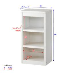 頑丈棚板がっちり書棚(頑丈本棚) ロータイプ 幅40cm 詳細図