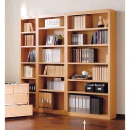 頑丈棚板がっちり書棚(頑丈本棚) ハイタイプ 幅80cm (ア)ライトブラウン 写真は、ハイタイプ幅40cm、60cm、80cmの組み合わせ例です。