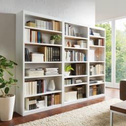 頑丈棚板がっちり書棚(頑丈本棚) ハイタイプ 幅90cm コーディネート例(ウ)ホワイト