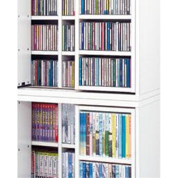 スライド式CD&コミックラック 2重タイプ4段 幅90cm [コミック・文庫本・DVD用] 2重タイプ4段幅90cmと2重タイプ5段幅90cmのみ上下連結で設置できます。