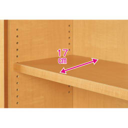 天井対応高さを選べるすっきり突っ張り書棚 奥行22cm・1列棚タイプ 本体高さ240cm(天井対応高さ243~253cm) 可動棚板は全て1.5cmピッチで調整できます。