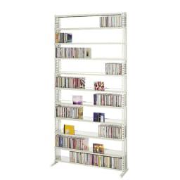 パンチングCDラック スタンド式(奥行27・高さ183cm)CD用 幅90.5cm (ア)ホワイト