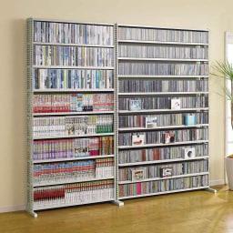 パンチングCDラック 突っ張り式(奥行21・高さ216~279cm)CD収納用 幅119cm (ア)ホワイト色見本 ※写真はスタンド式です。