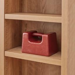 組立不要 天然木調棚板頑丈本棚 奥行19cm 棚板1枚あたりの耐荷重約20kgの頑丈仕様。