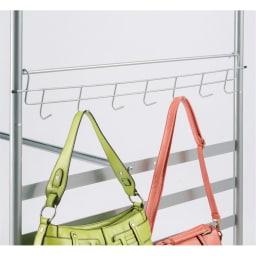奥行79cm 上下カーテン付き突っ張り頑丈ハンガーラック ハイタイプ・【標準】幅137~230cm対応 バッグやベルトに便利なサイドフックを1つ付属。