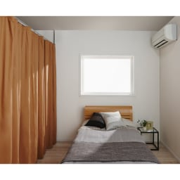 突っ張り&伸縮式目隠しカーテン リングタイプ エアコンの省エネ対策としてもよし。天井までお部屋を仕切れば冷暖房の効率UPです。(オ)ブラウン