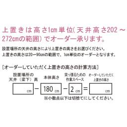 【日本製】シンプルスタイルワードローブ オーダー上置き 幅39cm(左開き) 奥行56cmタイプ オーダーして頂く上置きの高さの計算方法