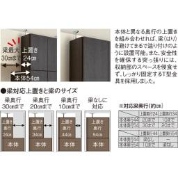 【薄型で省スペース!】梁避け対応システムユニット 奥行44cmタイプ 棚収納&引き出し 上置きの奥行は梁に合わせて選べる4種類。