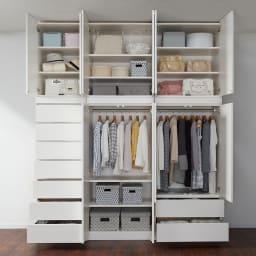 必要な時だけ引き出せるちょいかけハンガー付きクローゼット 引き出し7杯 幅60cm コーディネート例(ア)ホワイト ※衣類や靴など大量に収納できます。