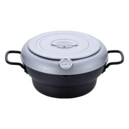 バット蓋付きIH対応段付き天ぷら鍋 24cm フタはフラットに。