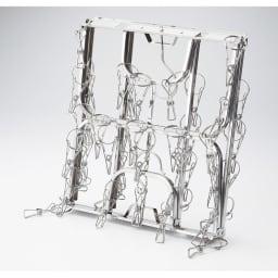 日本製 絡みにくいステンレス角ハンガー 40ピンチ 収納コンパクト。