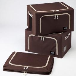 ワイヤー入り収納ボックス3個組 (ウ)ブラウン 収納コンパクト。