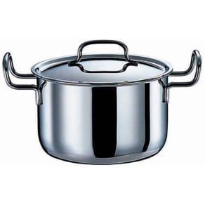 IH対応 服部先生のステンレス7層構造鍋「ジオ」 深型両手鍋径22cm 写真