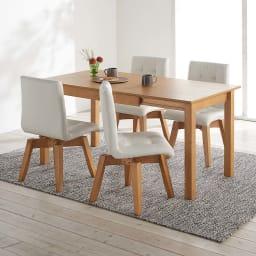 ナチュラルモダン伸長式オーク天然木ダイニングテーブル・幅110・150奥行75高さ70cm 使用イメージ≪テーブル伸長時幅150cm≫ ※お届けはテーブルです。