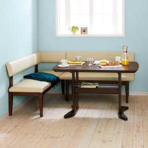 コンパクトLD兼用ラウンジダイニング3点セット 左カウチ(棚付きテーブル+背付きチェア+カウチ(座って左肘)) 写真