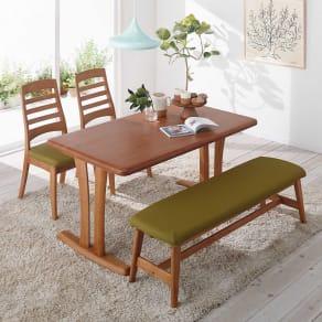 角が丸くて優しい天然木ダイニング テーブル 2本脚 幅140奥行80cm 写真