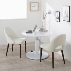 高さ自由自在!カフェスタイルダイニング 3点セット(丸形昇降テーブル径90cm+ラウンジチェア×2) ホワイト