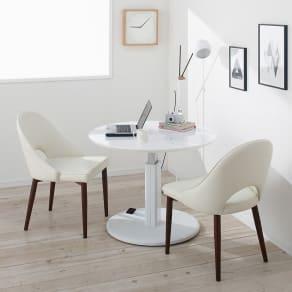 高さ自由自在!カフェスタイルダイニング 3点セット(丸形昇降テーブル径110cm+ラウンジチェア×2) ホワイト 写真