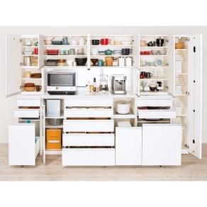 家電が使いやすいハイカウンター奥行45cm 食器棚高さ203cm幅40cm/パモウナDQ-S400KL DQ-S400KR 写真