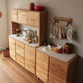 アルダー天然木アールデザインシリーズ キッチンボード 幅120cm 写真