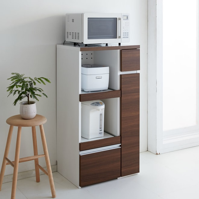 サイズが選べる家電収納キッチンカウンター ハイタイプ 幅60cm 調理台・家電収納・収納棚・引出の機能を1台でコンパクトにまとめたキッチンカウンター。