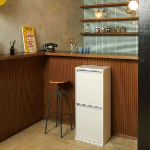 ゆっくり閉まる家具調ダストボックス 2分別 幅39.5cm 写真