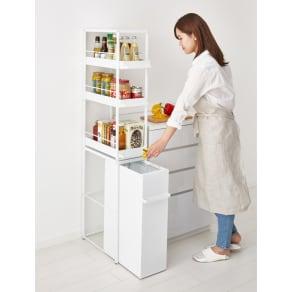 わずかな隙間に収まる ダストワゴン 付き すき間 キッチンラック ハイ(収納棚)タイプ 高さ149.5cm 幅25cm 写真