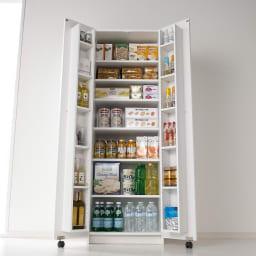大容量なのに探しやすい!ドアポケット付きキッチンストッカー 幅60cm キッチンの大量収納を可能にするドアポケットキッチンストッカー。