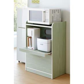 キッチン収納ミニ食器棚シリーズ レンジ台小(高さ90.5cm) 写真