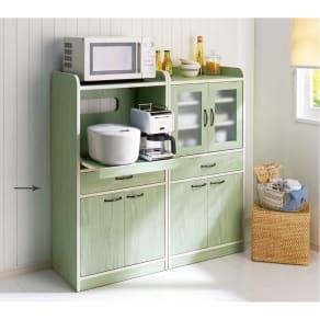 キッチン収納ミニ食器棚シリーズ レンジ台大(高さ120.5cm) 写真