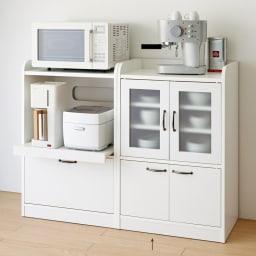 キッチン収納ミニ食器棚シリーズ キャビネット小(高さ90.5cm) (イ)ホワイト ※お届けは(写真右)キャビネット小タイプです。