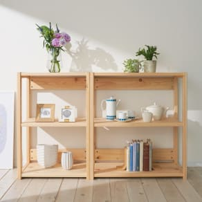 国産ひのきキッチンラック 棚タイプ ロータイプ(高さ89cm)幅80cm 写真