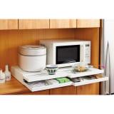 家電周りでの調理をサポートするレンジ下スライドテーブル 引き出し付き 幅80高さ10cm 写真
