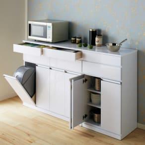 光沢仕上げ腰高カウンター収納シリーズ キッチン収納庫 幅55.5cm 写真