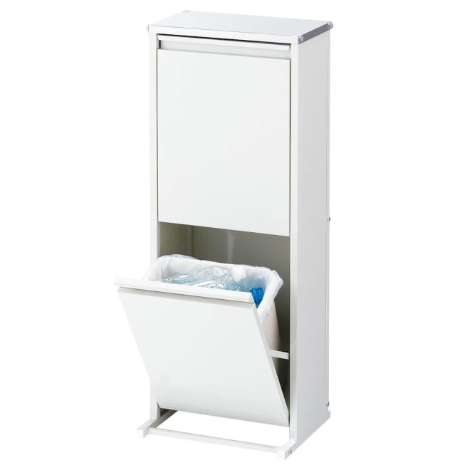 ステンレス天板ダストボックス 横型2分別 熱に強く清潔なステンレス天板仕様のゴミ箱です。