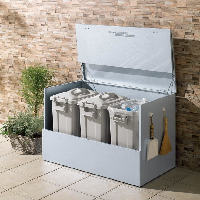 大きく開くガルバ製ゴミ保管庫 幅100奥行55cm ペール3個付き 省スペースで大きく開いて、出し入れ簡単!