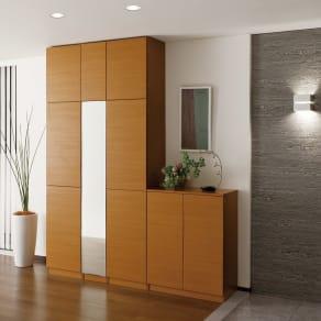 インテリアに合わせて8色&13タイプから選べるシューズボックス 扉 幅45高さ180.5cm(右開き) 写真