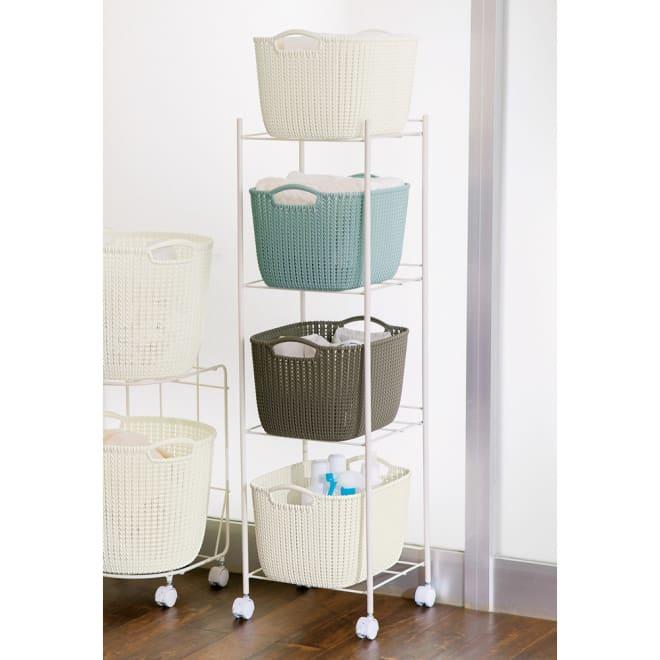 CURVER/カーバー ニット調ランドリーバスケット ランドリーワゴン+バスケットセット スクエア用ワゴン (エ)ミックス タオルや衣類の収納、洗濯物の分類に。高さを活かして脱衣スペースを有効活用できます。