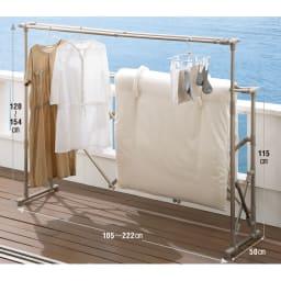 布団もシーツも楽に干せるダブルバー物干し 高さ伸縮式(竿4本)タイプ