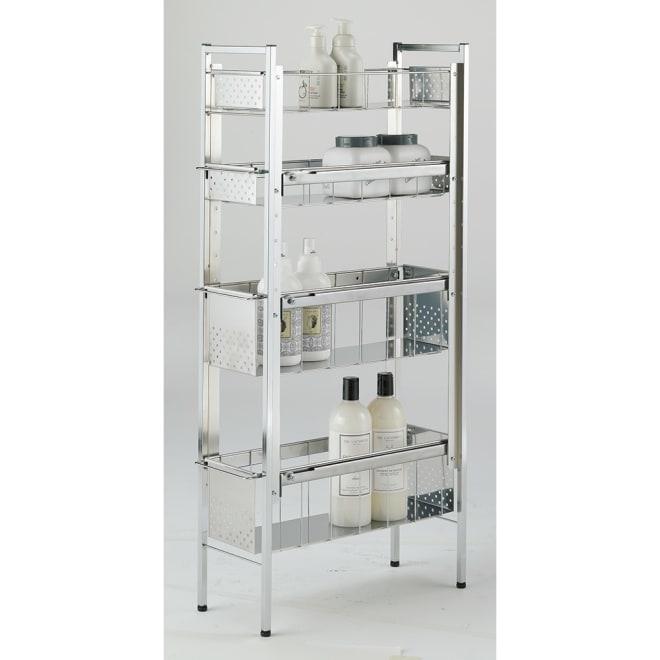 ステンレス洗濯機サイドラック 4段 幅20.5cm高さ103.2cm 清潔感のあるクールなデザインのラック。幅20.5cmで、洗濯用品やバスアイテムなどが場所を取らずにたっぷり収納できます。