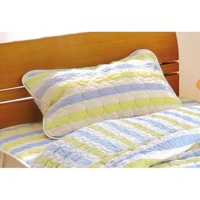 パシーマEX 柄タイプ 枕カバー(同色2枚組) (カ)ブルーボーダー ※両面ともに太いボーダー柄です