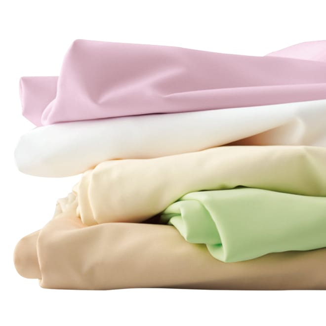 アンチストレス(R) ベッドシーツ 上から(イ)ピンク (ア)ホワイト (エ)アイボリー (ウ)ライトグリーン (オ)ベージュ