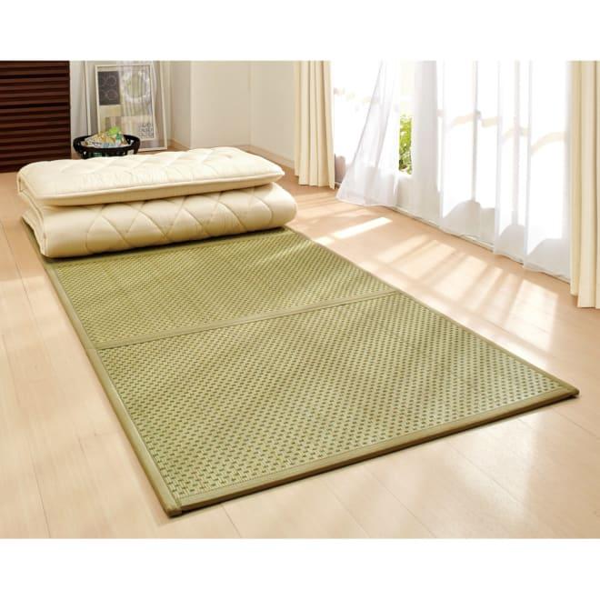 九州産の良質い草 折りたためるい草の敷きマット 布団に合わせたサイズをご用意しました。(ア)グリーン
